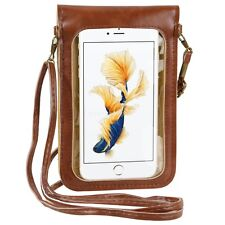 Brown Daisy Flower Cell Phone Pouch Crossbody Shoulder Bag For iPhone X / 8 Plus