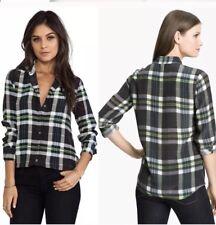 Equipment Plaid Blouse Top Button Down Women's Green Purple 100% Silk Size XS