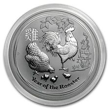 2017 ~ 5~OZ PURE .9999 SILVER ~ LUNAR YEAR of the ROOSTER ~ PERTH MINT ~ $218.88
