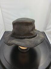 Minnetonka Men's Hat Large Black Outback Genuine Leather Fold Up 124