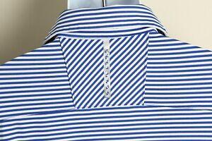 Under Armour Men's blue & white striped ColdBlack heatgear golf polo shirt Large