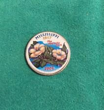 Mississippi 2002 State Quarter Painted Colorized Background Collectible Coin