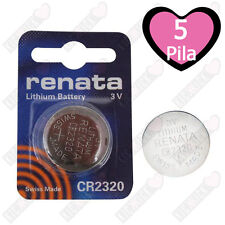 5 pz. CR2320 Renata Batteria, Pila al Litio, 150 mAh