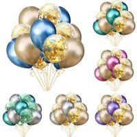 15× Metal Latex Confetti Ballons Happy Birthday Balloon Party Wedding Decoration