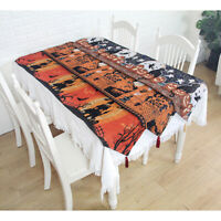 Halloween Table Runner with Tassels Funny Decorative Tablecloth Home Decorations