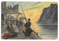 Artist Signed Scene on Steamship Deck, Wilhelm Peters UB PPC Norway to UK