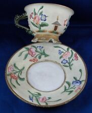 Antique French Biscuit Porcelain Fun Cup & Saucer Porcelaine Tasse France