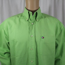 Tommy Hilfiger Mens Green Long Sleeve Button Front Large Dress Shirt