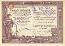 Turquia, SA Ottomane des Mines de Balia - Karaidin, accion, Constantinople, 1922