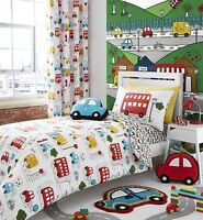 CARTOON CARS BUSES VANS RED BLUE COTTON BLEND SINGLE DUVET COVER&FITTED SHEET