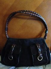 Burberry Suede Handbag With Braided Strap