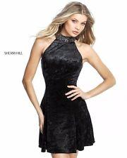 Sherri Hill 51404 Velvet Black Cocktail Dress sz 8