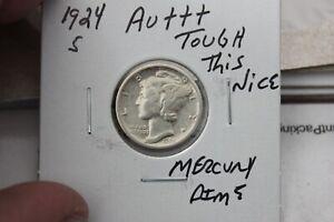 1924-S    AU+++   MERCURY DIME