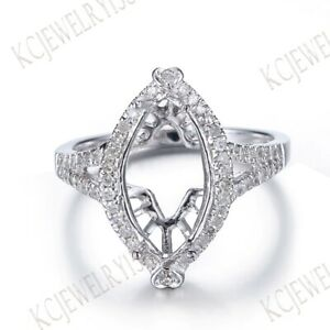 7x13MM MARQUISE SEMI MOUNT DIAMONDS SOLID 14K WHITE GOLD ENGAGEMENT FINE RING