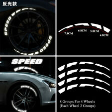 8Groups Speed & Brake Blade Night Reflective Car Decals  Kit Stickers For 4 Tire