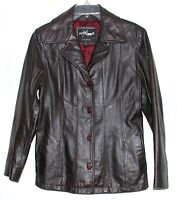 Wilsons Maxima Dark Brown Leather Burgundy Lining Womens  Button Jacket Size M