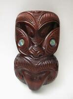 VINTAGE HANDCARVED MAORI TIKI UPOKO WOODEN WALL HANGING PAUA SHELL NEW ZEALAND