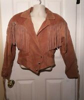 Western Fringe Coat Womens Sz S Brown Leather Lace Up Back/Sleeves Snap Front