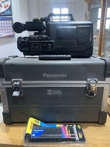 PANASONIC VHS MOVIE SYSTEM CASE VW-SHS1 & M2SB S-VHS CAMERA BLACK + BATTERY