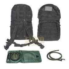Molle Hydration Backpack Pack W/ 2.5 L Liter Water Bladder Black Bag