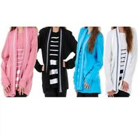 Ladies Women TwinSet Striped Long Sleeve Knitted Cardigan Jumpers Plus Size