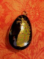 Vintage 80's Cloisonne Teardrop Pendant for Necklace Peacock Black Lilac Green