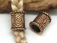 Perlas Barba Adorno de Barba Nudo Celta 8mm Ø Corta Bronce Perla de Pelo Vikingo