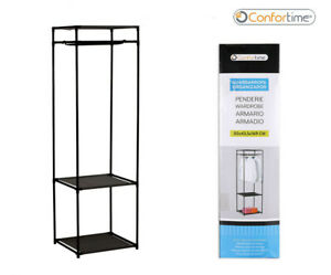 Metal Clothes Rail Open Wardrobe Storage Rack Stand 2 Shelves Hanging Rail BLACK