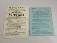 Antique Advertising Directions Photography Rotograph Bromide Eastman Kodak Paper