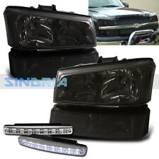 03-05 CHEVY AVALANCHE HEADLIGHTS BUMPER LAMPS PAIR + DRL LED FOG LIGHT ASSEMBLY