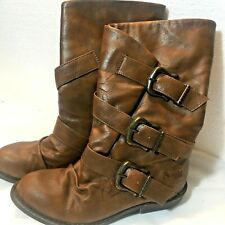 Blowfish Boots Size 5 Ladies Whiskey Brown Buckle Mid-Calf Renaissance $100V