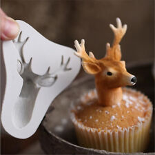 Christmas Deer Head Silicone Cake Chocolate Fondant Mould Baking Decor Tools Pop
