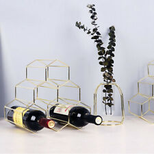 6 Bottle Metal Honeycomb Wine Rack Countertop Free-stand Wine Storage Holder