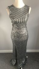 QUIZ SILVER PEWTER SEQUIN MAXI LONG EVENING PROM BALL GOWN OCCASION DRESS SIZE 8