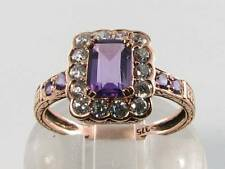 LOVELY 9CT ROSE GOLD ART DECO INS  AFRICAN AMETHYST & DIAMOND RING FREE RESIZE