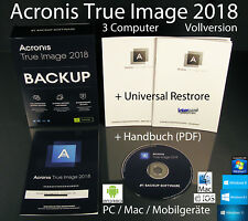 Acronis True Image 2018 Vollversion 3 PC/Mac Box, CD + Universal Restore OVP NEU
