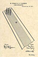 Official 1st Bowling Alley US Patent Art Print- Original 1877 Lane Pin Ball -283