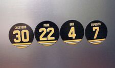 Boston Bruins Magnets | Jersey Design | Orr, Cheevers, Park & Esposito | 3 inch