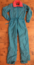 Vintage 80's Blue Pink Ski Snow Suit Women's Tyrolia Skiwear Size M 8 small hole