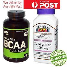 L-Arginine Max Strength 1000 mg + Optimum Nutrition Mega-Size BCAA 1000 Cap Stak