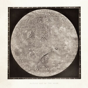 Graduated photographic Vintage map of the moon wall art poster print