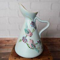 "Vintage Hull Pottery Serenade Light Blue Raised Birds Painted Pitcher 6.5"""