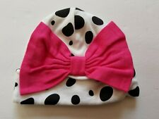 Gerber Baby Girls Infant Black & White Polkadot Pink Bow Hat Size 0-6 months