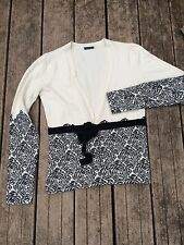 MAGASCHONI 100% cashmere Tie Front Cardigan Sweater Sz S w/stylized roses