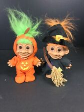 2 Halloween Troll Dolls One Dressed Pumpkin Smiling AND One Dressed Witch 5""