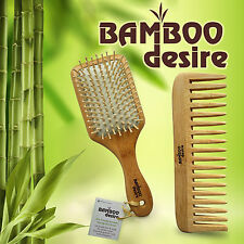Natural Bamboo Wood High Quality Large Paddle Hair Brush and Detangling Comb Set