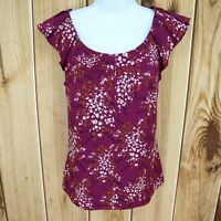 ELLE Short Sleeve Blouse Top Shirt Womens Size S Purple Floral Ruffled Shoulder