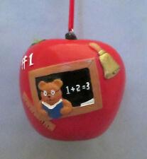 Red Apple #1 Teacher Black Board Ruler Bell Holiday Christmas Ornament