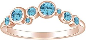 Round Simulated Aquamarine Ocean Waves Wedding Band Ring in 14K Gold Over Silver