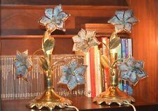 pair of table lamp Vintage Mid-Century Italian Murano Flower Venini Art-Glass